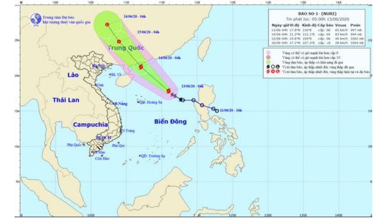 Bão số 1 giật cấp 10 hoạt động mạnh trên biển Đông, cách Hoàng Sa 380km